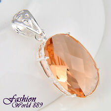 Attractive Elegant Oval Morganite Gemstone Silver Pendant Jewelry 1 5/8 Inch
