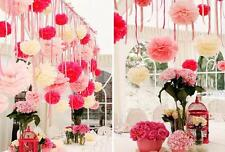 "2x 20cm 8"" Tissue Paper Pom Poms Wedding Party Home Favors Decoration Colours"