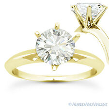 Round Brilliant Cut Moissanite 14k Yellow Gold 6-Prong Solitaire Engagement Ring