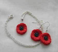 Handmade Fimo Red & Black Poppy Remembrance Flower Charm Necklace & Earring Gift