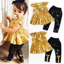 New Baby Girls Shirt Dress+Legging Pants Kids Clothes Sets Suit Outfit Treedy