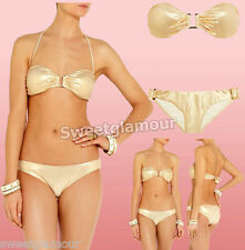 $190 Melissa Odabash Rome Gold Metallic 2 pc bandeau Top & Bottom bikini Set