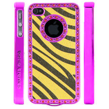 Crystal Rhinestone Yellow Gray Zebra Shimmer Leather Case For Apple iPhone 4 4S