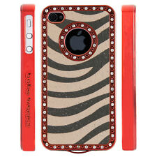 Apple iPhone 4 4S Gem Crystal Rhinestone Peach Grey Zebra Leather case