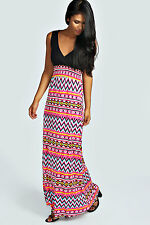 Boohoo Womens Ladies Ali Printed Contrast Top Maxi Dress In Pink