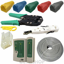 100M RJ45 Cat5e Cable End Boot Tester Crimper Punch Down Tool LAN Network Kit