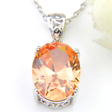 Charismatic Oval Jewelry Morganite/Amethyst Gemstone Silver Pendant 1 5/8""
