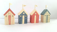 East of India Striped Blue/ Red Wooden Beach Hut Seaside Nautical/ Bathroom Gift
