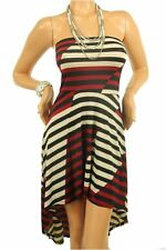 DEALZONE High Low Striped Dress S Small Women Red Cocktail Knee-Length
