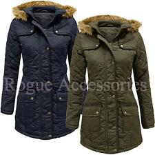 Ladies Beth Military Padded Quilted Fur Hood Winter Jacket Coat Size  Womens