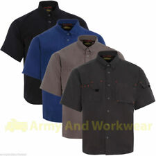 Mens Collared Short sleeved Work Shirt Micro High Dry Fabric Multi Pocket Summer