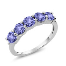 1.50 Ct Round Blue Tanzanite 925 Sterling Silver 5-Stone Band Ring