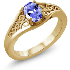 0.75 Ct Oval Blue Tanzanite 925 Yellow Gold Plated Silver Ring