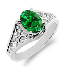 1.24 Ct Oval Green Simulated Emerald 18K White Gold Ring