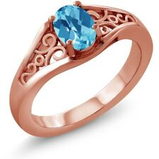 0.95 Ct Oval Checkerboard Swiss Blue Topaz 925 Rose Gold Plated Silver Ring