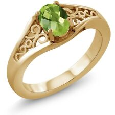 1.00 Ct Oval Checkerboard Green Peridot 18K Yellow Gold Ring