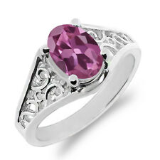0.85 Ct Oval Pink Tourmaline 925 Sterling Silver Ring