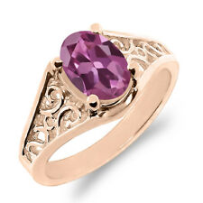 0.85 Ct Oval Pink Tourmaline 925 Rose Gold Plated Silver Ring