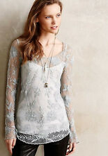 NIP Anthropologie Delicate Lace Snowblossom Tee Sz S Dusty Green Mint Blouse Top