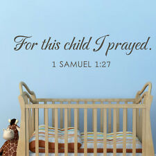 For This Child I Prayed Wall Decal Inspired Bible Quote Nursery Room Mural Decor