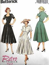 BUTTERICK VTG RETRO 50's EMPIRE ROCKABILLY FLARE DRESS SEW PATTERN B6018 SZ 6-22