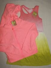 Crazy8 Neon Zip Front Hoodie Dip Dye Tank Dress Set Summer Spring Girls 5 6