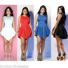Chic Women Dress Sleeveless Irregular Hem Club Party Cocktail Pleated Mini Dress