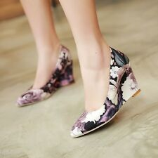 2015 Vogue Womens Stylish Wedge Heels Pointy Toe Pull On Hot Sale Sweet Shoes