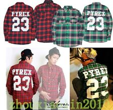 Men PYREX VISION 23 west kanye FLANNEL T-Shirt religion trill top Hip-Hop tee