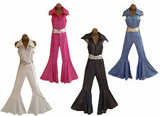 60s 70s 80s FANCY DRESS JUMPSUIT COSTUME OUTFIT for RETRO DISCO HEN NIGHTS