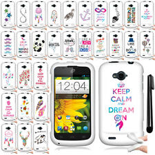 For ZTE Savvy Z750C Cute Design TPU SILICONE Rubber Soft Case Phone Cover + Pen