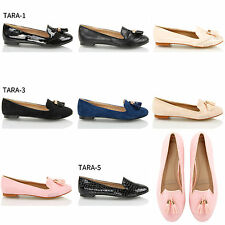 Womens ladies slip flat tassel loafers dolly pumps office work black shoes size
