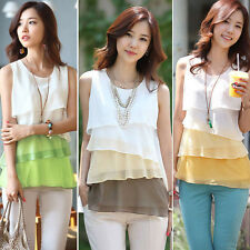 New Womens Summer Loose Casual Chiffon Sleeveless Vest Shirt Tops Blouse UK 6-18