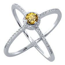 1.62 Ct Round Champagne Quartz 925 Sterling Silver Criss-Cross Ring