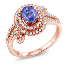 2.00 Ct Oval Blue Tanzanite 925 Rose Gold Plated Silver Ring
