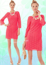 $168 Lilly Pulitzer Topanga Island Coral Breakers Lace Crochet Knit Tunic Dress