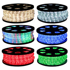 50ft LED Rope Lights 2-Wire Home Outdoor Warm Cool White Blue Green Red RGB 110V