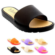 Womens Jelly Peep Toe Summer Pool Sliders Holiday Shoes Beach Sandals UK 3-9