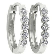 I1/G 0.50Ct Pave Set Round Diamond Jewelry 14Kt Solid Gold Hoop Huggies Earrings