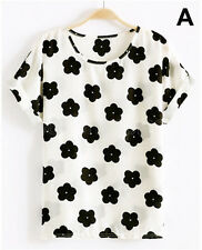 NEW Womens Cute Loose Casual Cross Batwing Sleeves Crew Neck T-Shirt Tops Blouse