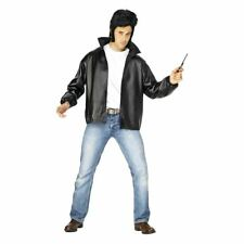 Embroidered Black T-Birds Foux Leather Bomber Jacket 1970's Grease Fancy Dress