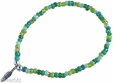 ANKLET with Small FEATHER Charm on Green Mix Glass Seed Beads Mix