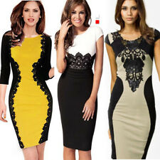 Sexy Party Bodycon Pencil Cocktail Women Sleeve Celeb Ladies Lace Evening Dress