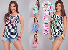 Ladies Vest Top BUTTERFLY Print Sleeveless 100% Cotton T-Shirt Sizes 8-14 FB34