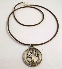 "Pewter ""Faith of a Mustard Seed"" Pendant on a Brown Leather Necklace 0473"