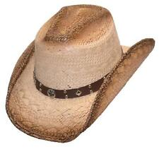 NEW! Western Straw Cowboy Hat - Brown with Concho Hatband- Pinch (S/M, L/XL)