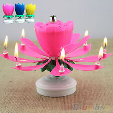 Beautiful Musical Lotus Flower Rotating Happy Birthday Party Gift Candle Lights