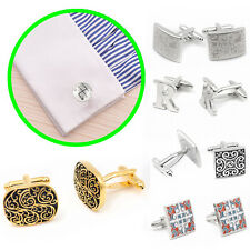 Stainless Steel Silver Vintage Men's Wedding Gift Classical Grid Cuff Links FR