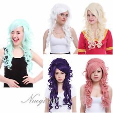 Lolita 5 Colors Long Curly Wave Cosplay Full Wigs Synthetic Bangs Party Hair