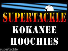 """SUPERTACKLE 1½"""" - 4 cm HOOCHIES INVENTORY fishing lure skirts - KOKANEE TROUT"""